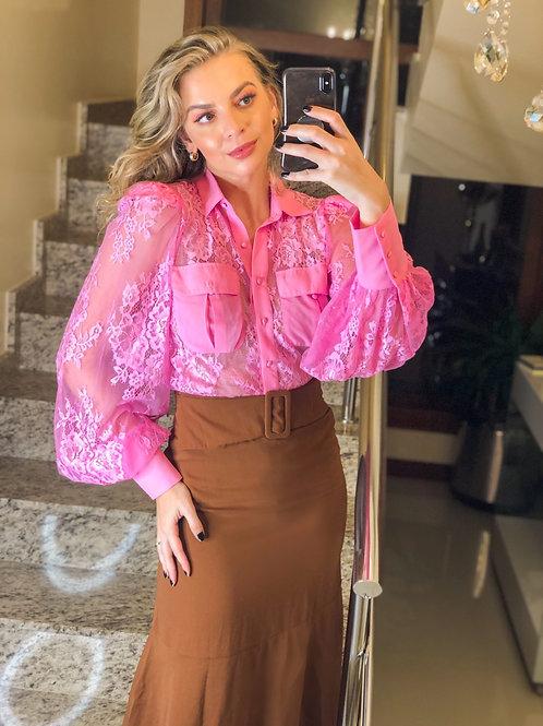 Camisa Renda Rosa chiclete