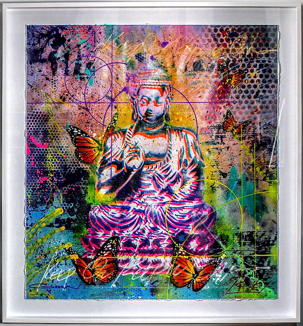 Peaceful Buddha With Butterflies
