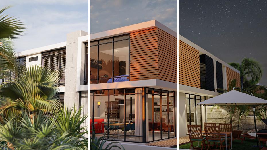 Contemporary House backyard