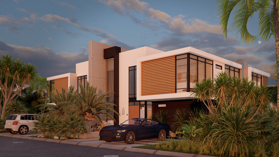 Contemporary House front sunset
