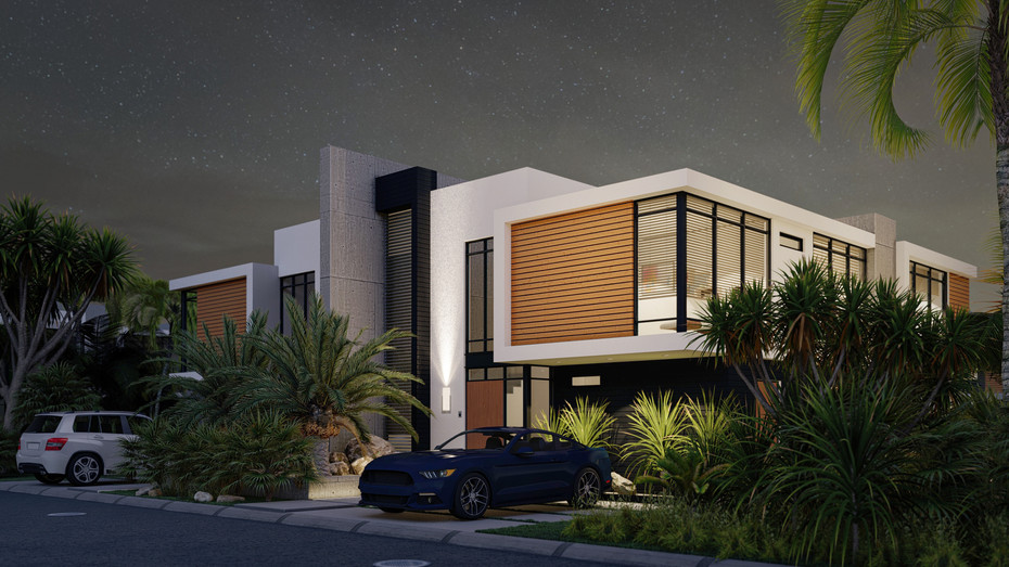 Contemporary House front night time