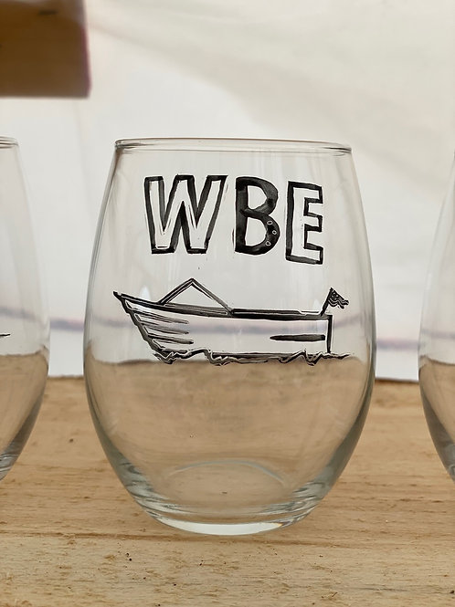 11/24 WBE Hand Painted Stemless Wine Glass