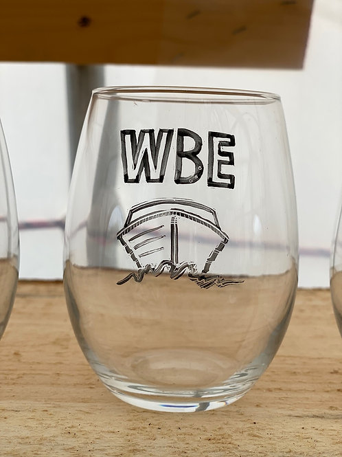 13/24 WBE Hand Painted Stemless Wine Glass