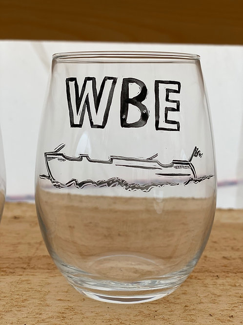 24/24 WBE Hand Painted Stemless Wine Glass