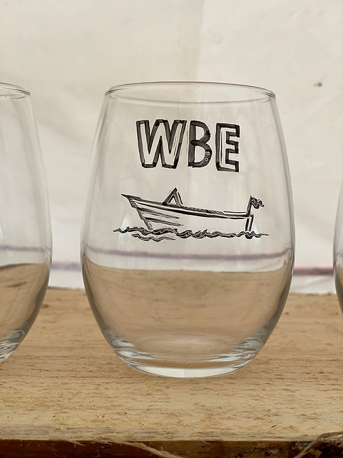 16/24 WBE Hand Painted Stemless Wine Glass