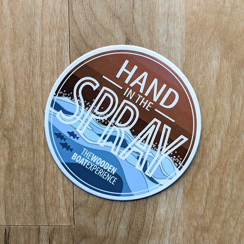 Hand in the Spray Wooden Boat Experience Sticker