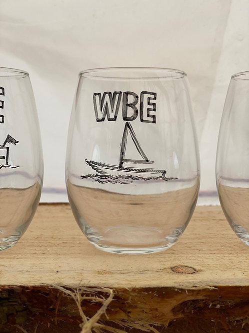 14/24 WBE Hand Painted Stemless Wine Glass