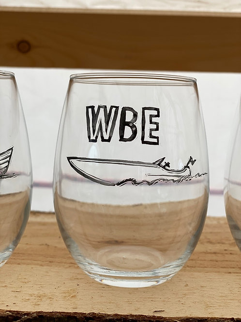 5/24 WBE Hand Painted Stemless Wine Glass