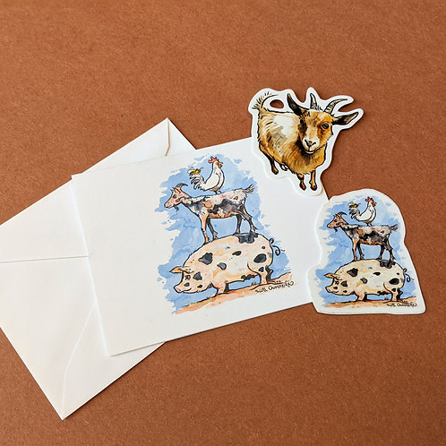Set: Farm Animals Goats Stickers + Note Card with Envelope