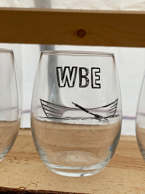 3/24 WBE Hand Painted Stemless Wine Glass