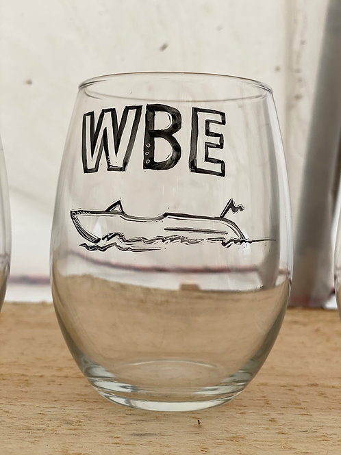 15/24 WBE Hand Painted Stemless Wine Glass