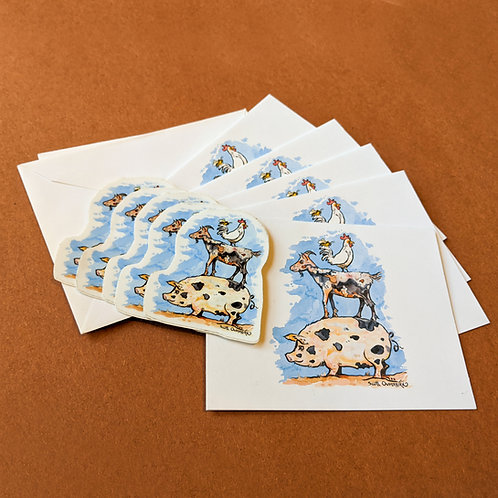 Set: Five Farm Animals Stickers + Note Cards with Envelopes