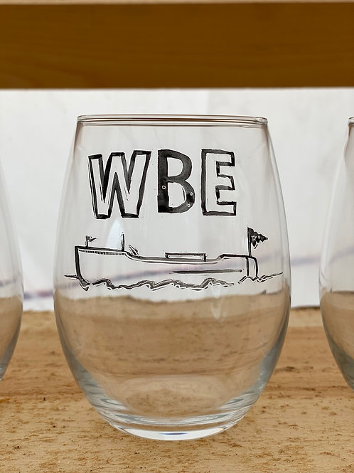 23/24 WBE Hand Painted Stemless Wine Glass