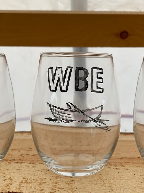 2/24 WBE Hand Painted Stemless Wine Glass