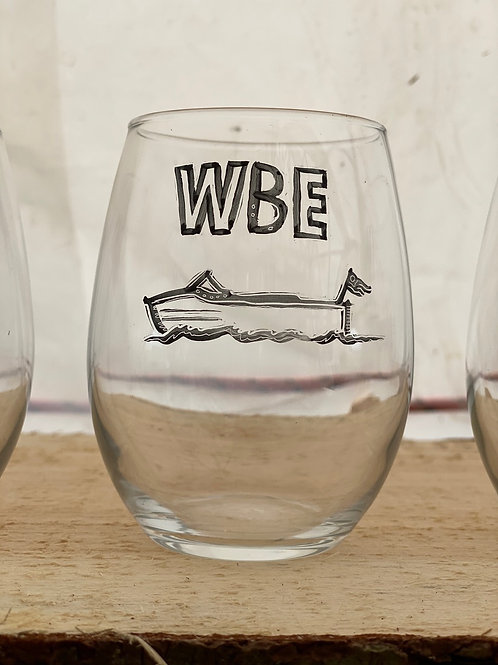 18/24 WBE Hand Painted Stemless Wine Glass