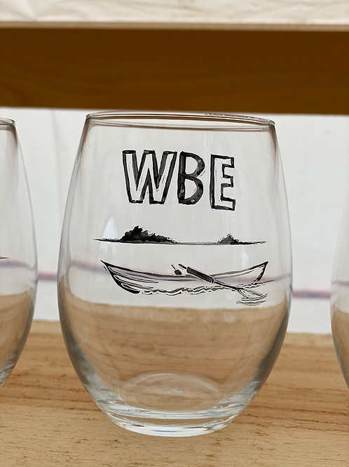 4/24 WBE Hand Painted Stemless Wine Glass