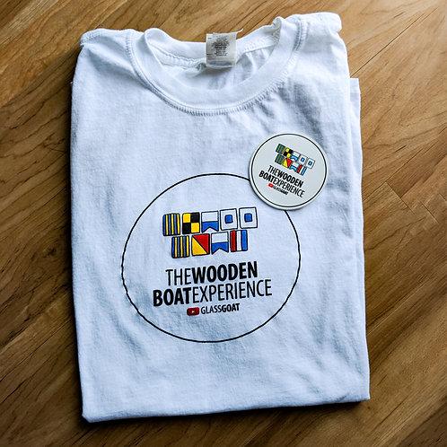 Wooden Boat Experience Tshirt + Sticker Set