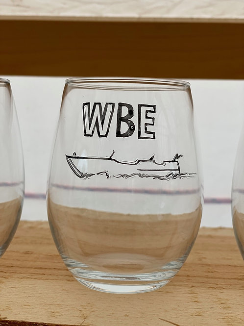 6/24 WBE Hand Painted Stemless Wine Glass