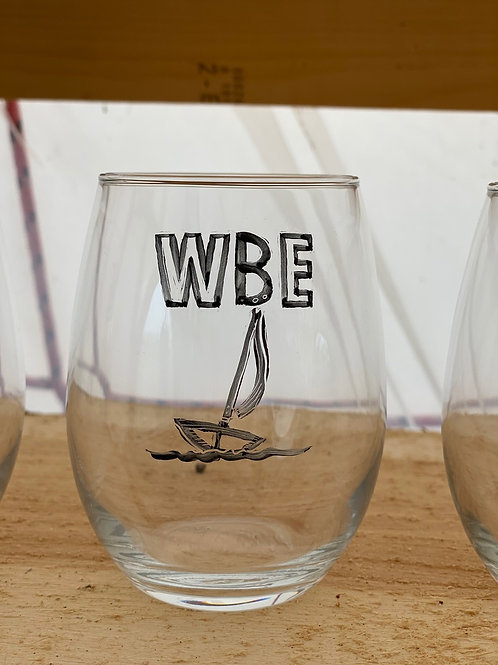 20/24 WBE Hand Painted Stemless Wine Glass
