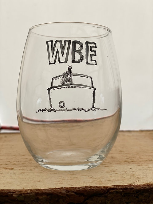 17/24 WBE Hand Painted Stemless Wine Glass