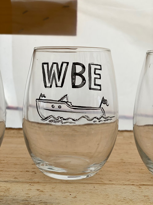 12/24 WBE Hand Painted Stemless Wine Glass
