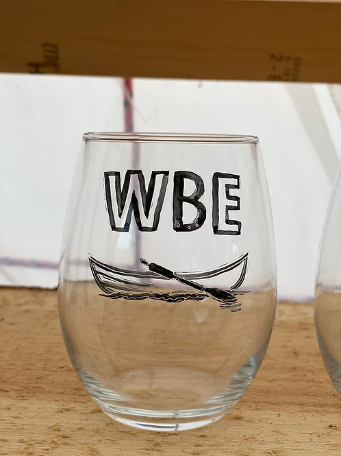 19/24 WBE Hand Painted Stemless Wine Glass
