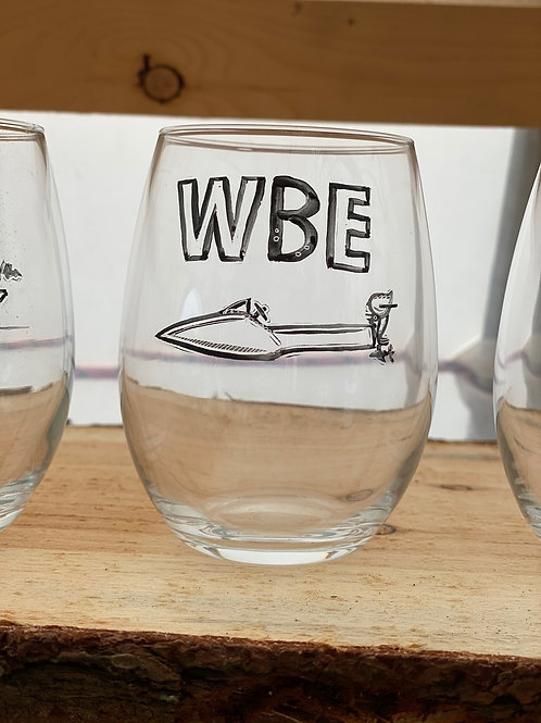10/24 WBE Hand Painted Stemless Wine Glass