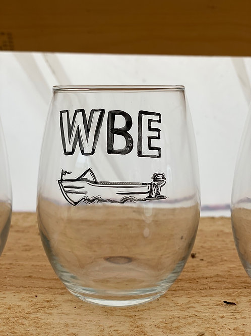 22/24 WBE Hand Painted Stemless Wine Glass