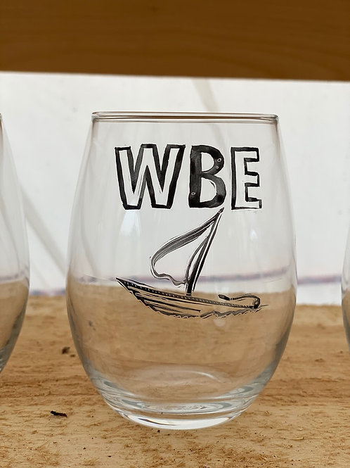 21/24 WBE Hand Painted Stemless Wine Glass