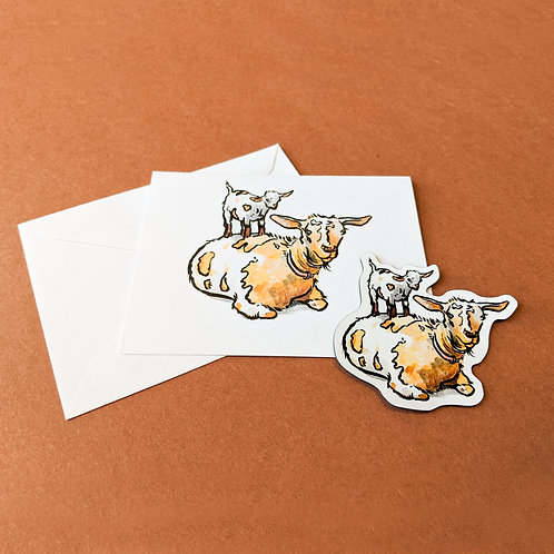 Set: Goat + Kid Magnet and Note Card