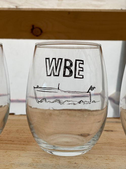 7/24 WBE Hand Painted Stemless Wine Glass