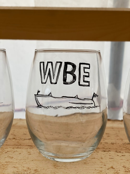1/24 WBE Hand Painted Stemless Wine Glass