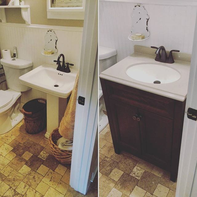 Adding a touch of class instead of the boring old pedestal sink for Renee G