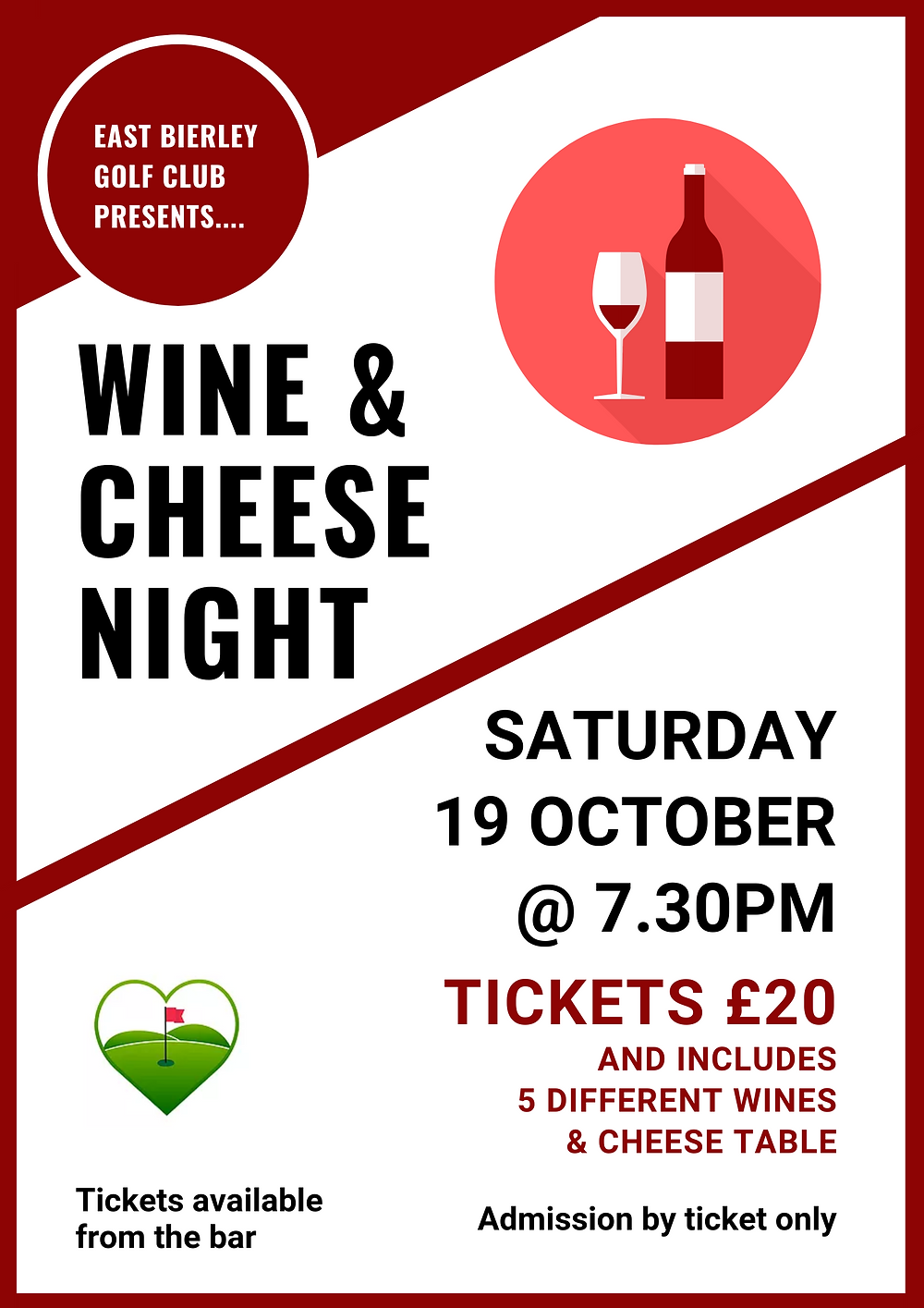 Wine and Cheese night Saturday 19 October at 7.30pm