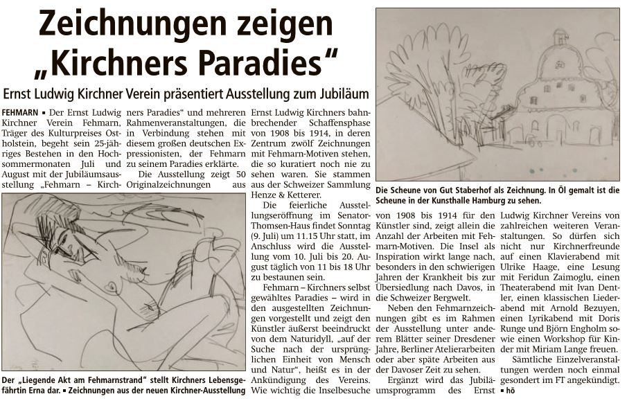 Kirchners Paradies - Fehmarnsches Tageblatt 4.7.2017