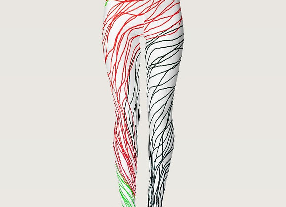 RED GREEN BLACK STRING LINE ART DIGITAL ABSTRACT LEGGINGS