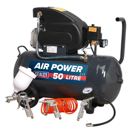 Compressor 50L Direct Drive 2hp with 4pc Air Accessory Kit