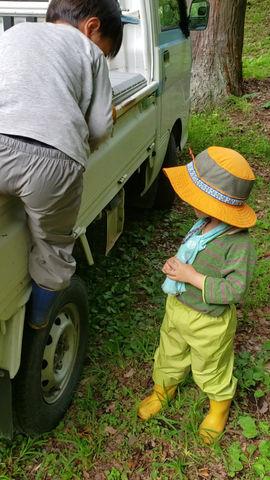 軽トラの荷台から降りられるように…