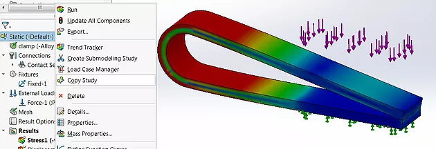 Estudo SolidWorks Simulation