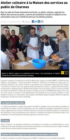 Atelier culinaire à la Maison des services au public de Charmes
