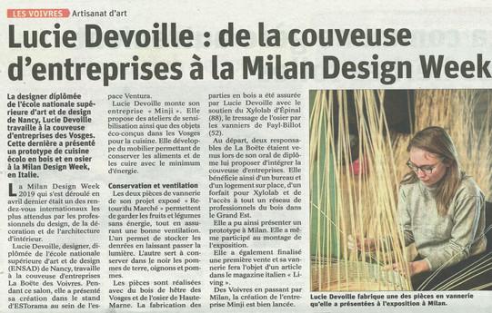 Lucie Devoille : de la couveuse d'entreprises à la Milan Design Week