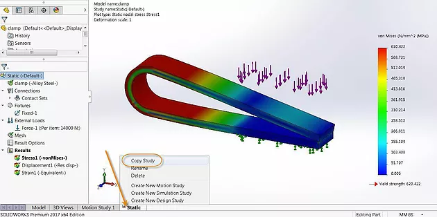 Estudo SolidWorks Simulation