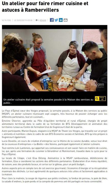 Un atelier pour faire rimer cuisine et astuces à Rambervillers