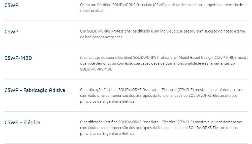 Certificações disponíveis - SOLIDWORKS WORLD 2019