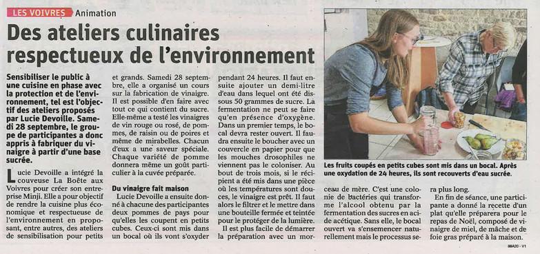 Des ateliers culinaires respectueux de l'environnement