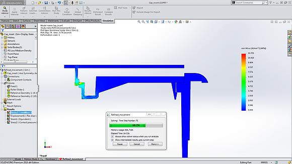 SolidWorks Análise Não Linear