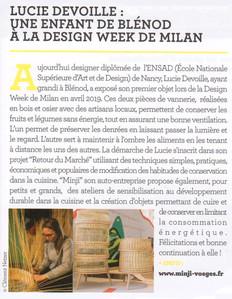 Lucie Devoille : une enfant de Blénod à la Design Week de Milan
