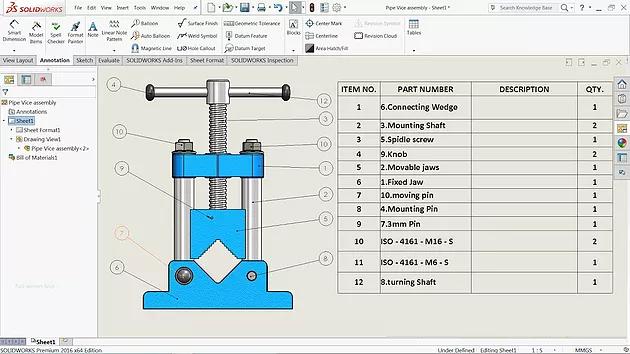 Lista de Materiais (BOM) | SolidWorks