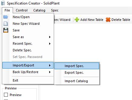 SolidPlant - Specification Creator