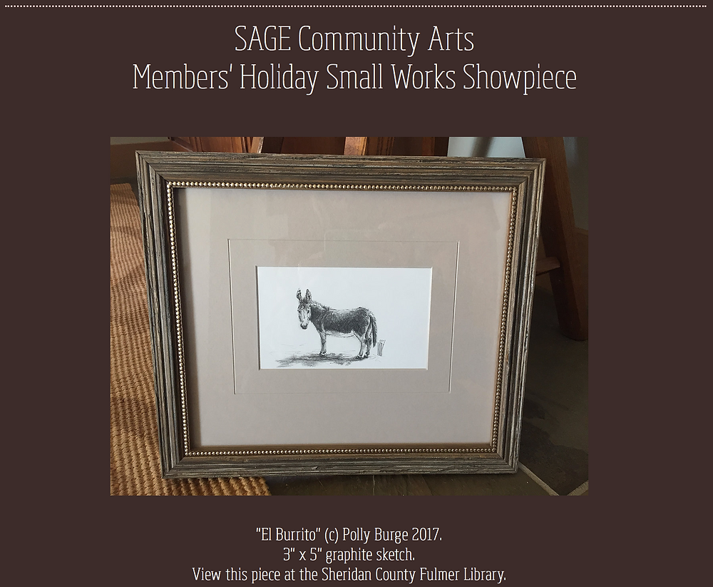 """El Burrito!"" SAGE Community Arts Members' Holiday Small Works Showpiece"